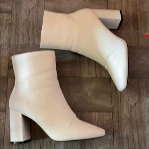 Faux Leather Square Toe Booties